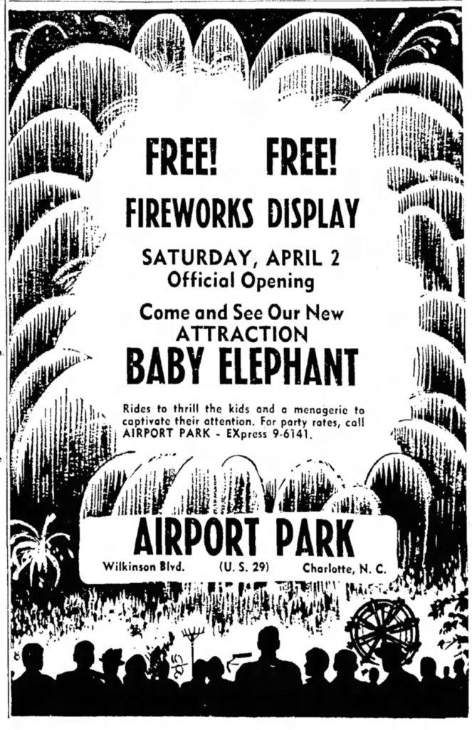airport amusement park Charlotte fireworks